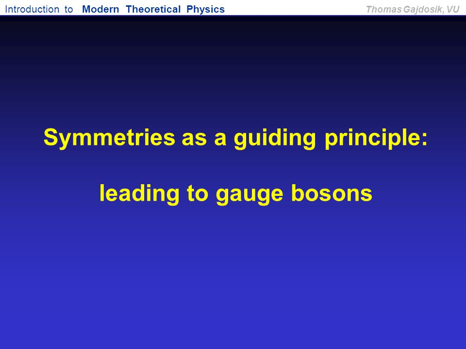 Symmetries as a guiding principle: leading to gauge bosons