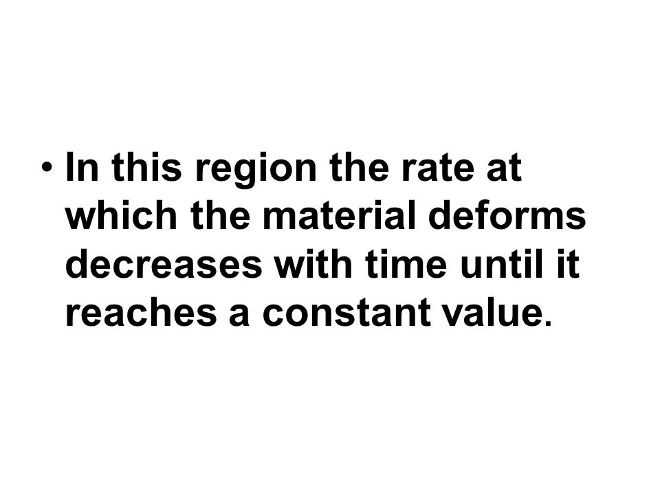 In this region the rate at which the material deforms decreases with time until it reaches a constant value.