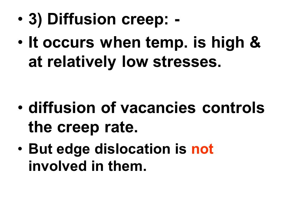 It occurs when temp. is high & at relatively low stresses.