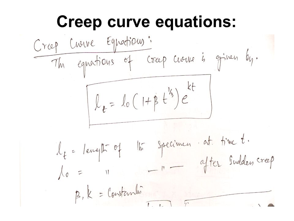 Creep curve equations: