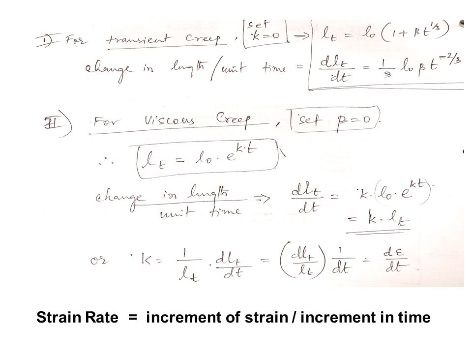 Strain Rate = increment of strain / increment in time