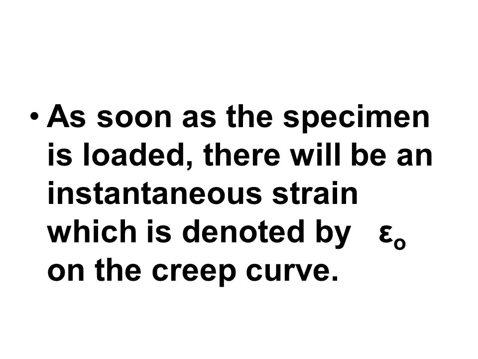 As soon as the specimen is loaded, there will be an instantaneous strain which is denoted by εo on the creep curve.