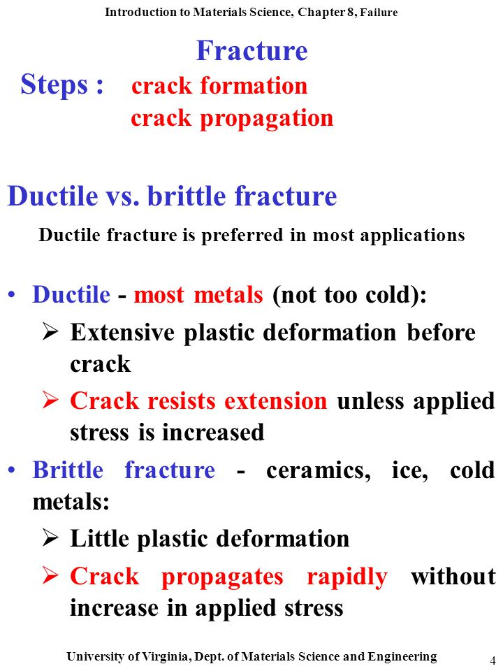 Ductile fracture is preferred in most applications