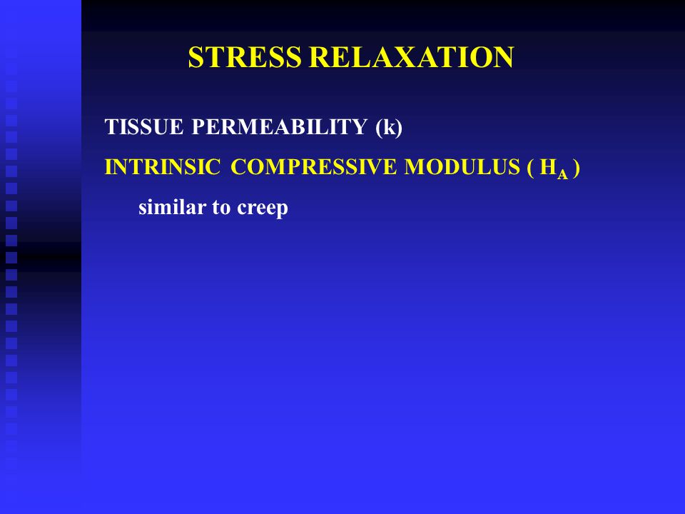 STRESS RELAXATION TISSUE PERMEABILITY (k)