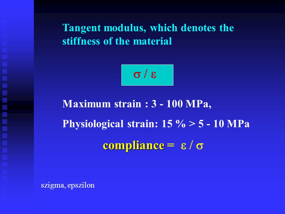 Tangent modulus, which denotes the stiffness of the material