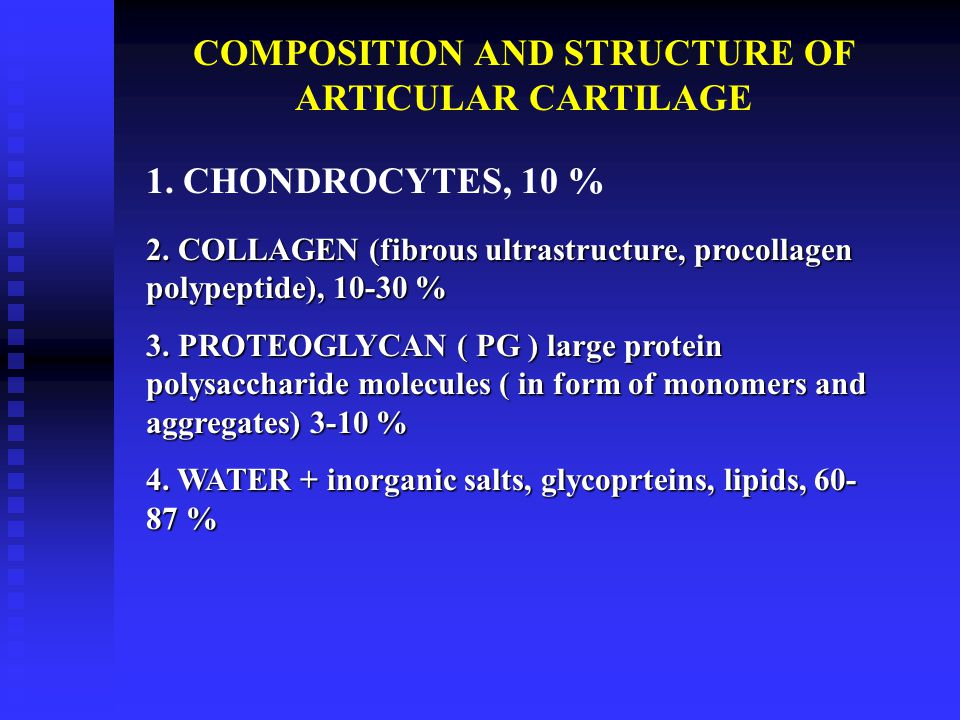 COMPOSITION AND STRUCTURE OF ARTICULAR CARTILAGE