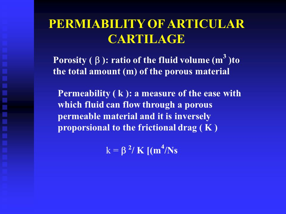 PERMIABILITY OF ARTICULAR CARTILAGE