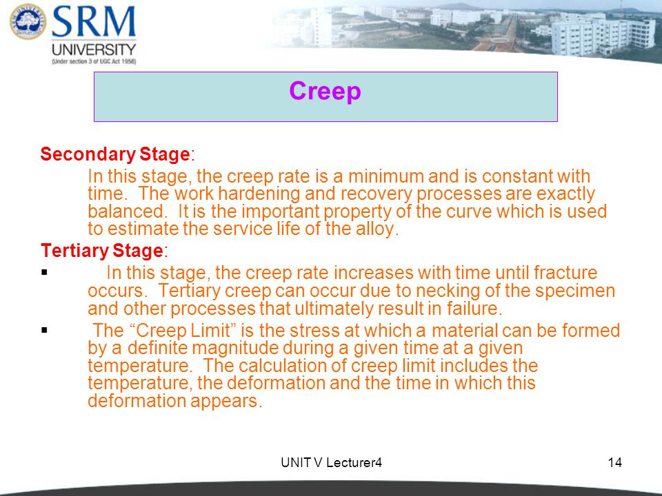 Creep Secondary Stage: