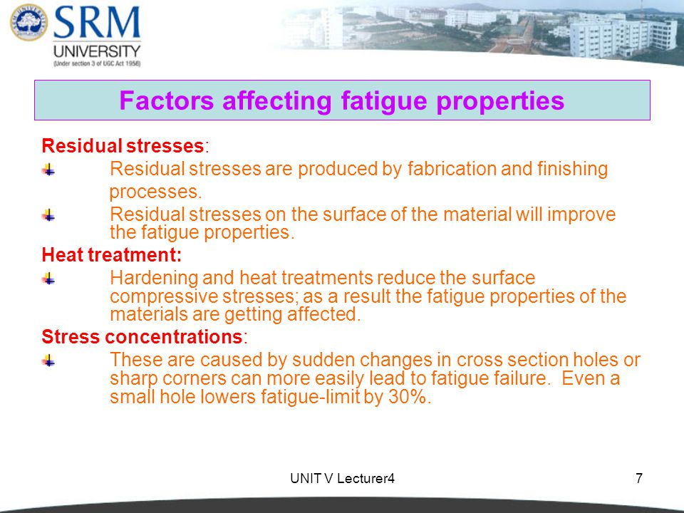 Factors affecting fatigue properties