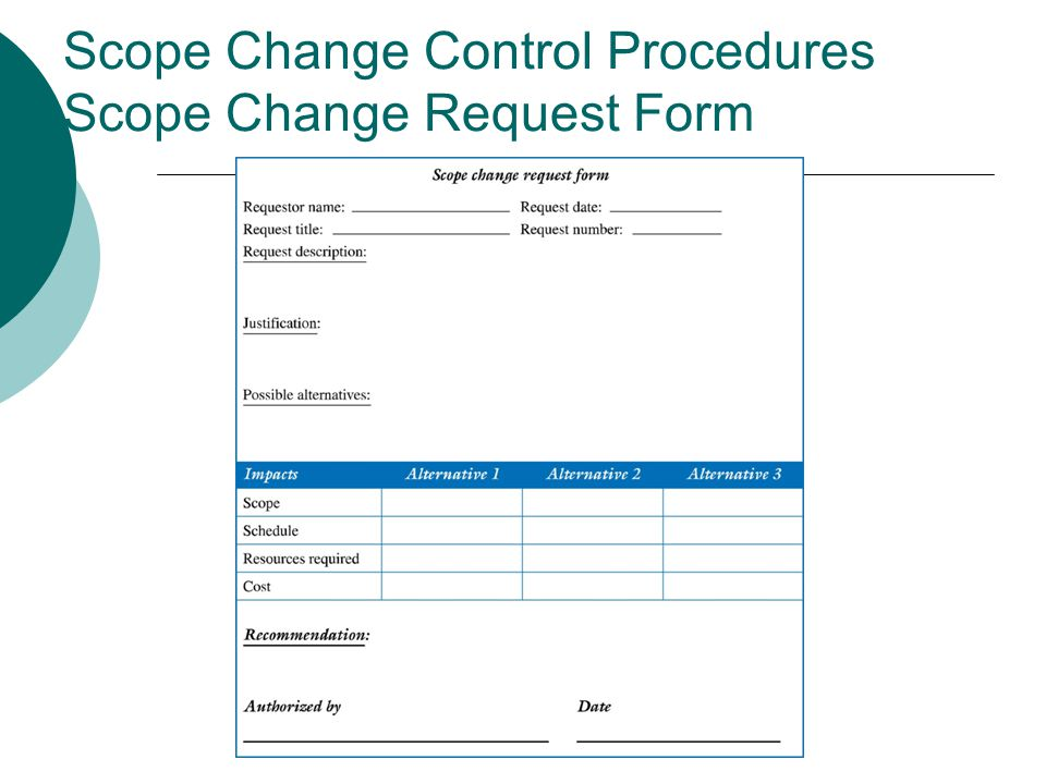 Scope Change Control Procedures Scope Change Request Form