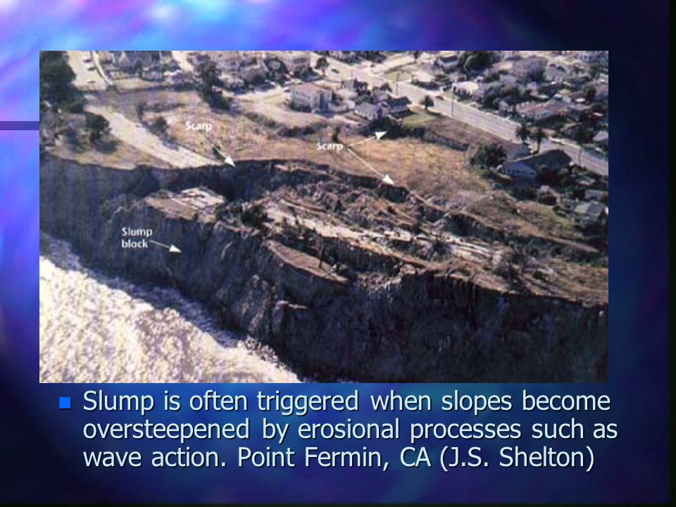 Slump is often triggered when slopes become oversteepened by erosional processes such as wave action.