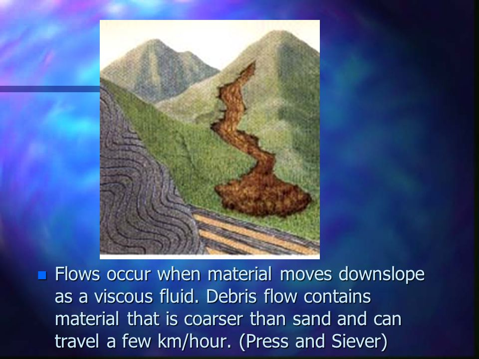 Flows occur when material moves downslope as a viscous fluid
