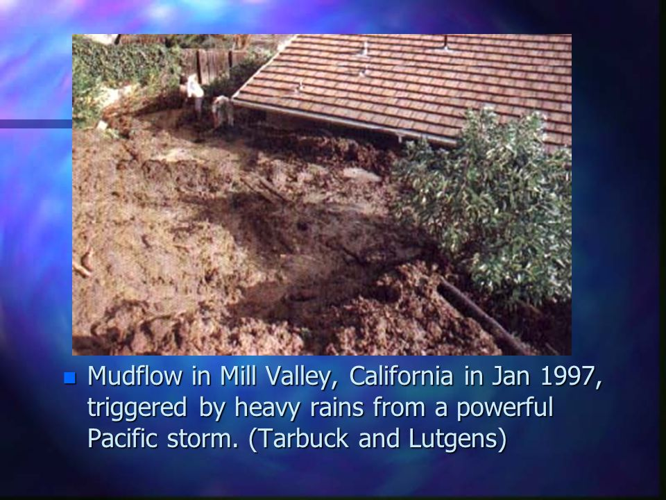 Mudflow in Mill Valley, California in Jan 1997, triggered by heavy rains from a powerful Pacific storm.