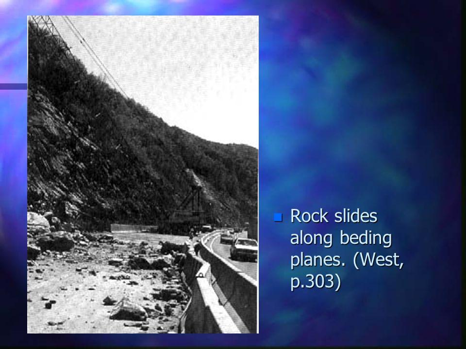 Rock slides along beding planes. (West, p.303)