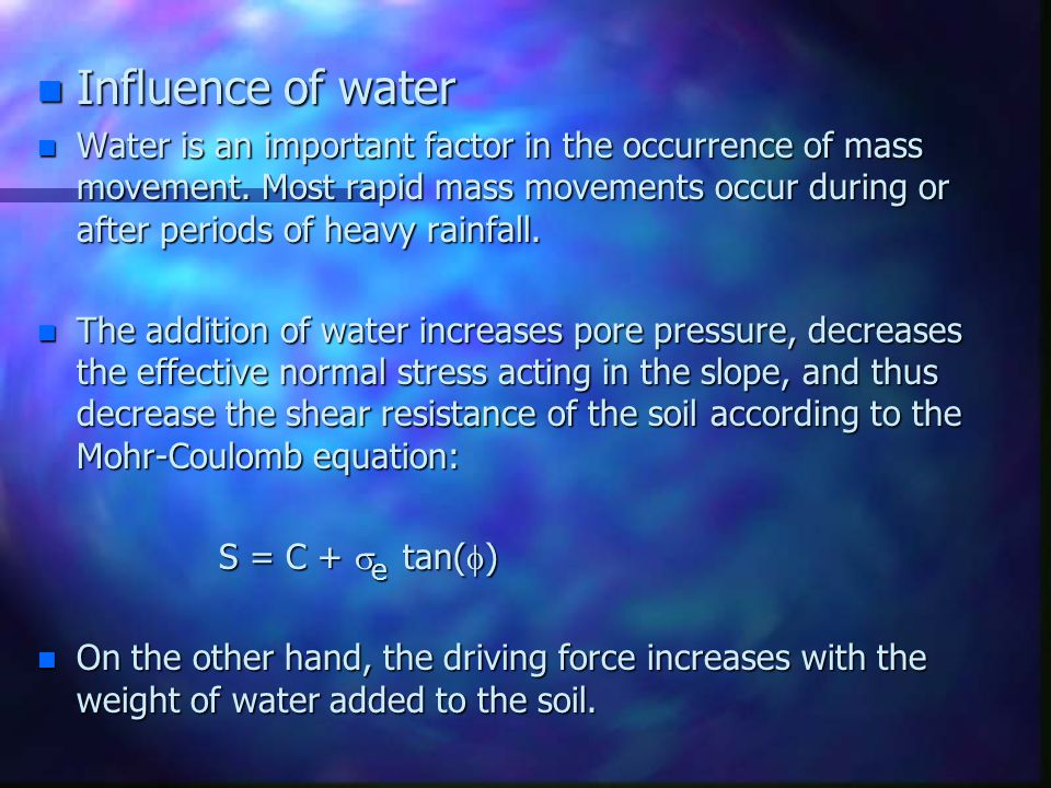 Influence of water