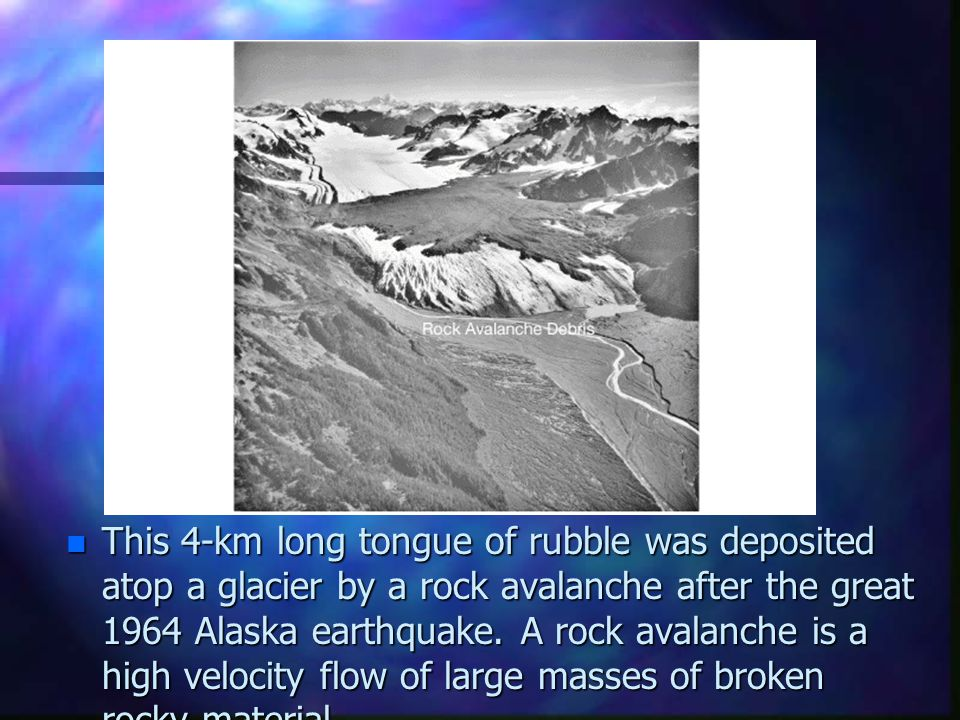 This 4-km long tongue of rubble was deposited atop a glacier by a rock avalanche after the great 1964 Alaska earthquake.