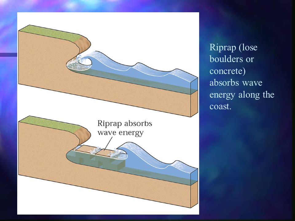 Riprap (lose boulders or concrete) absorbs wave energy along the coast.