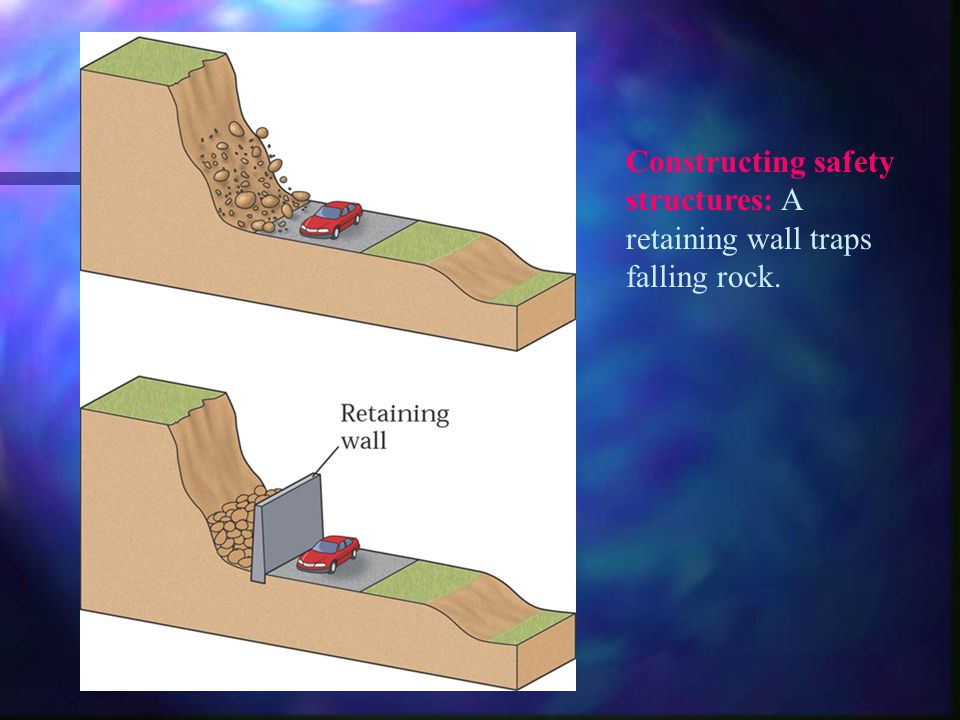 Constructing safety structures: A retaining wall traps falling rock.