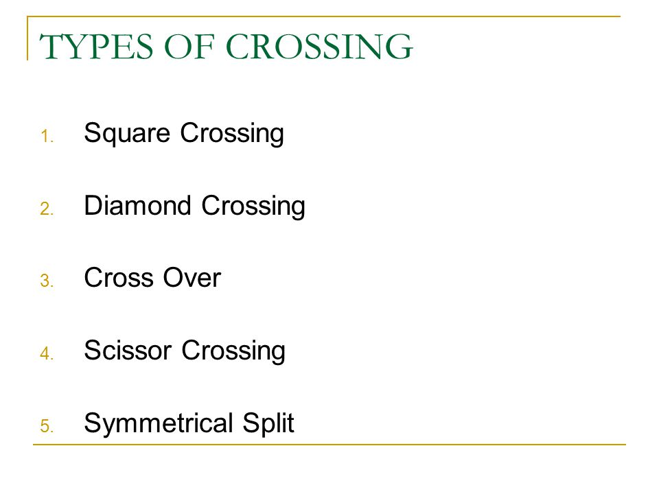 TYPES OF CROSSING Square Crossing Diamond Crossing Cross Over