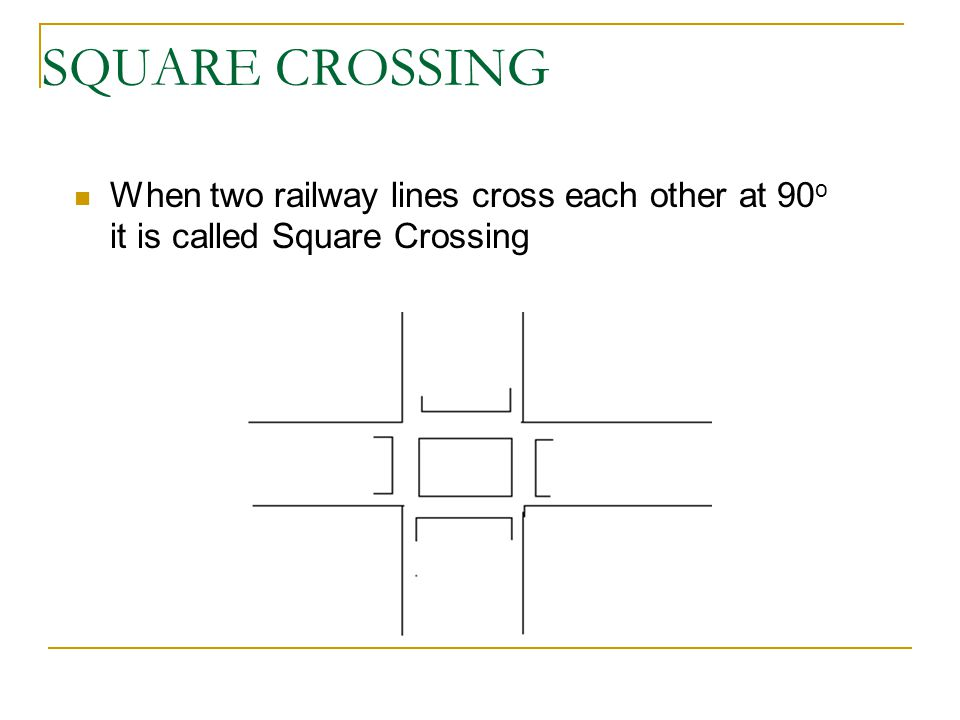 SQUARE CROSSING When two railway lines cross each other at 90o it is called Square Crossing