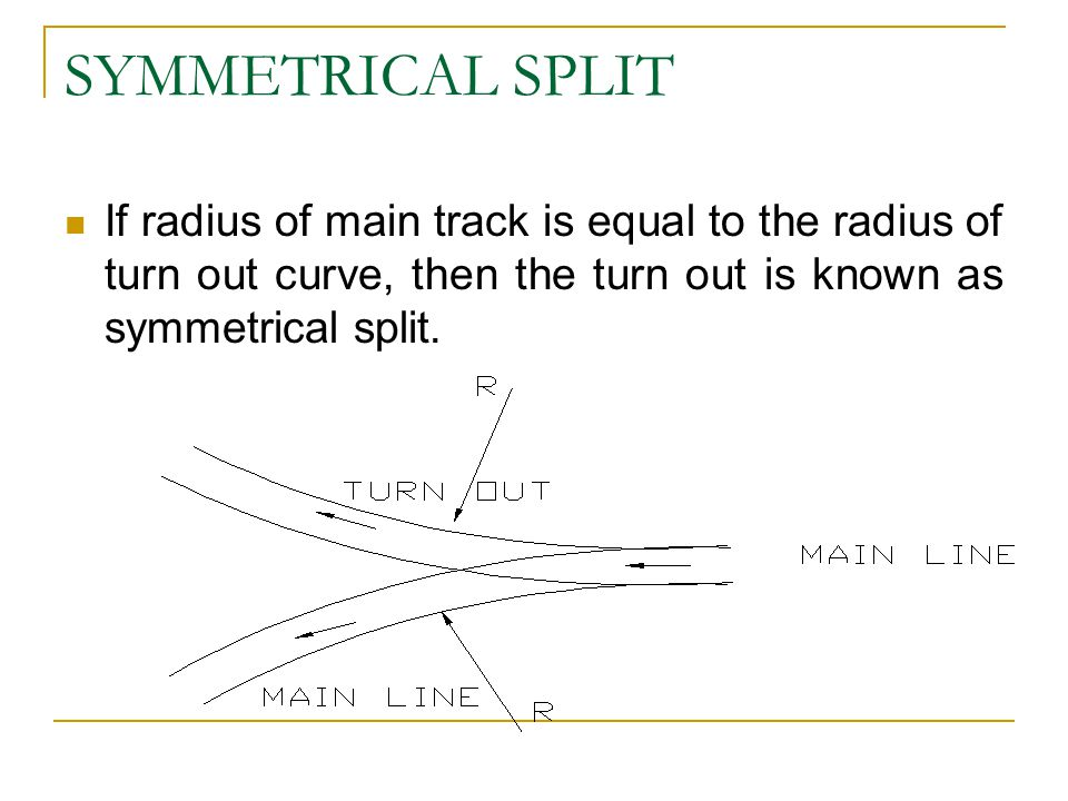 SYMMETRICAL SPLIT If radius of main track is equal to the radius of turn out curve, then the turn out is known as symmetrical split.