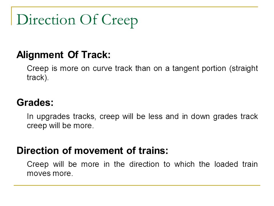 Direction Of Creep Alignment Of Track: