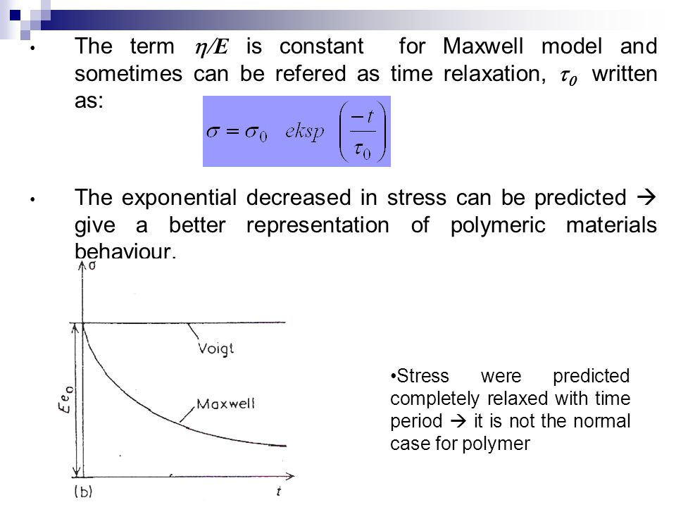 The term h/E is constant for Maxwell model and sometimes can be refered as time relaxation, t0 written as: