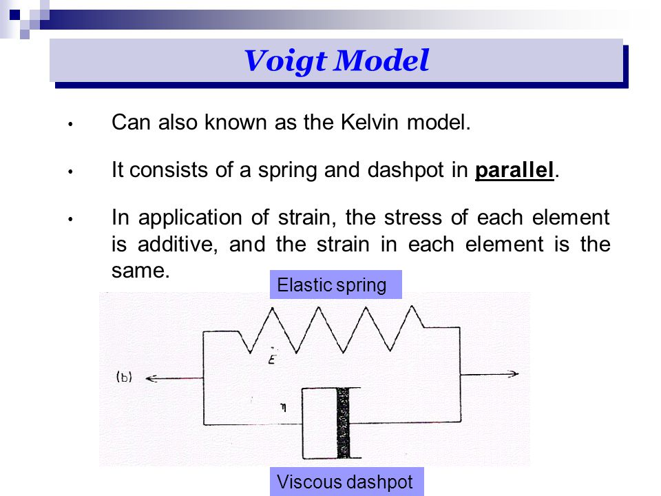 Voigt Model Can also known as the Kelvin model.
