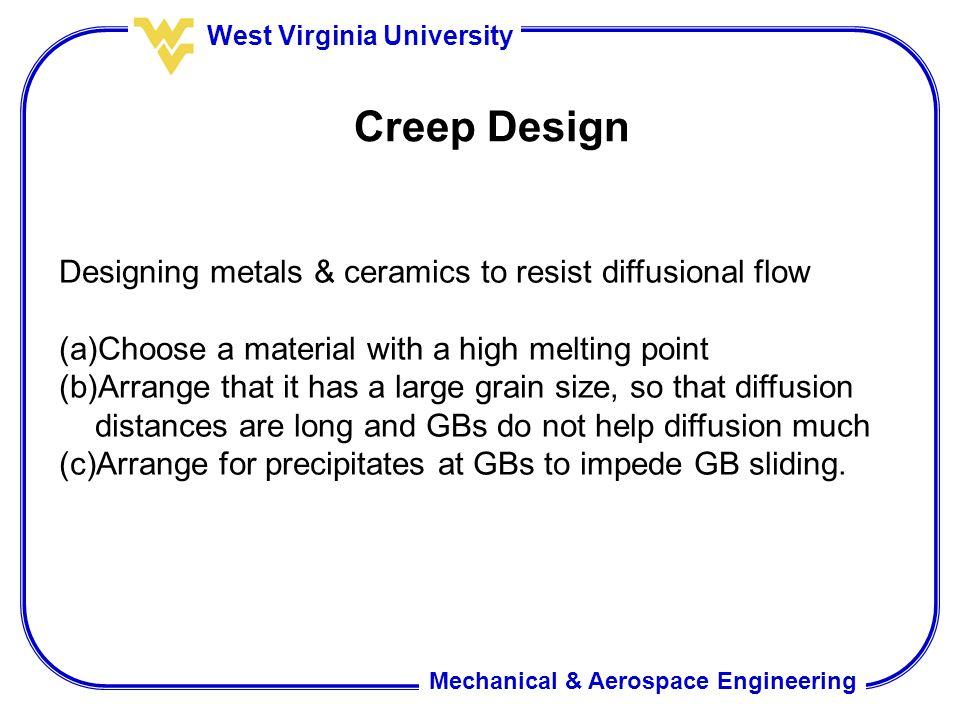 Creep Design Designing metals & ceramics to resist diffusional flow