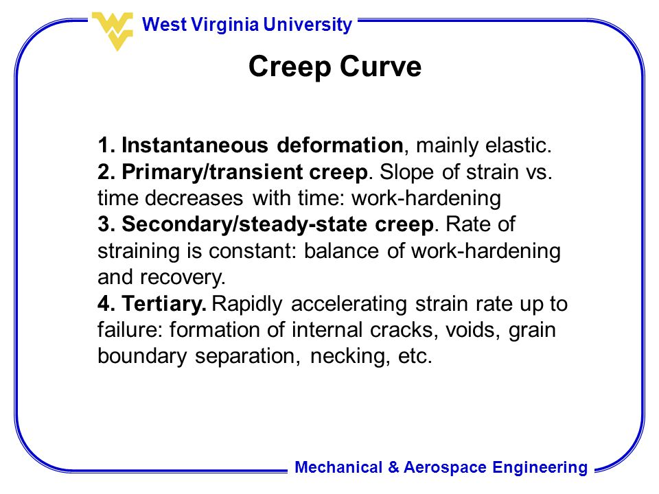 Creep Curve 1. Instantaneous deformation, mainly elastic.