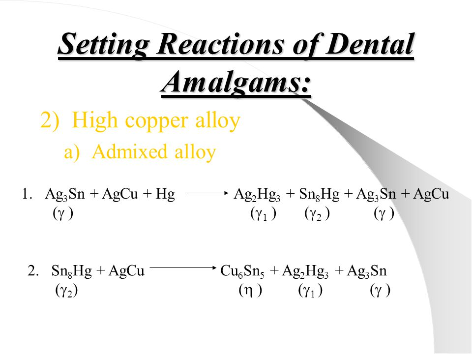 Setting Reactions of Dental Amalgams: