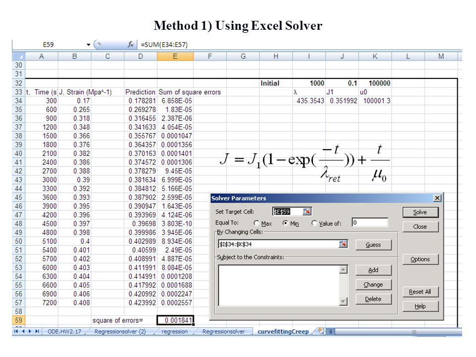 Method 1) Using Excel Solver