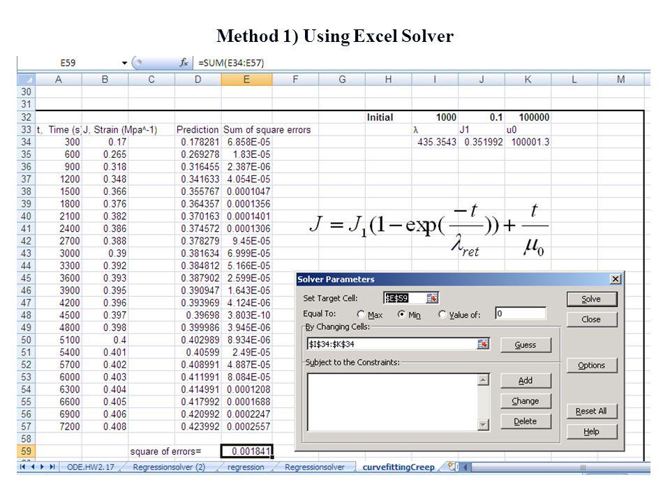 Method 1) Using Excel Solver