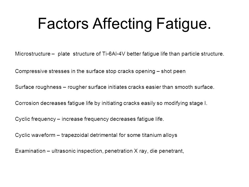 Factors Affecting Fatigue.