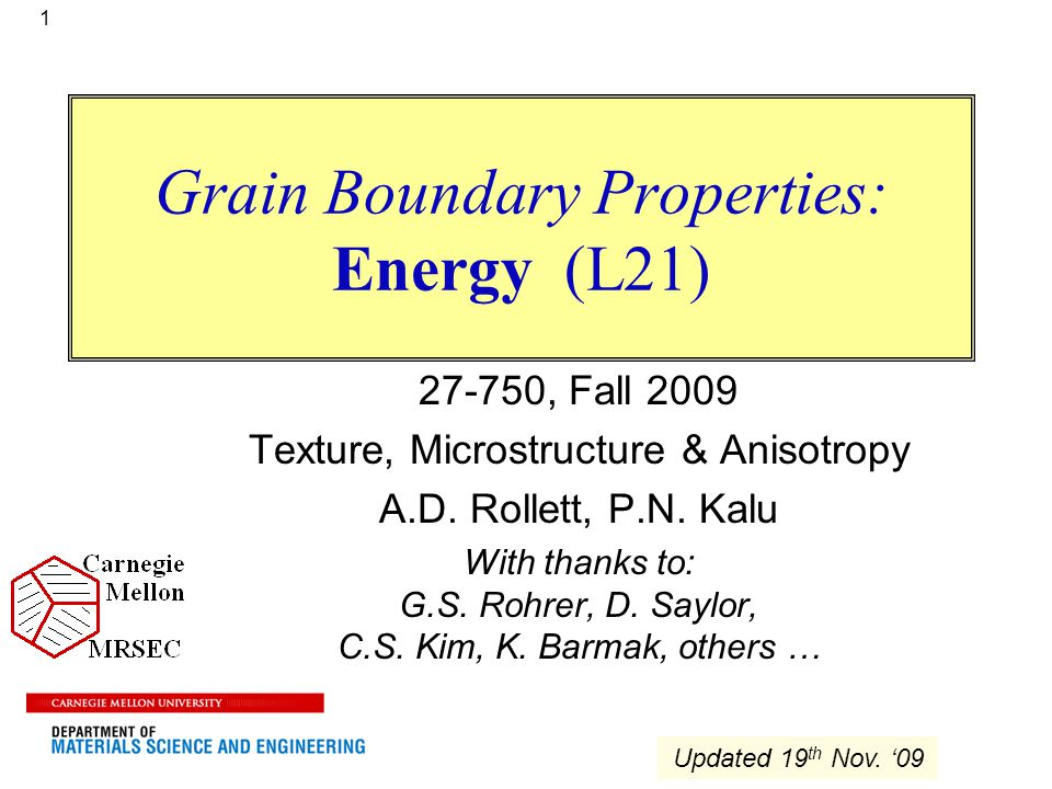 Grain Boundary Properties: Energy (L21)