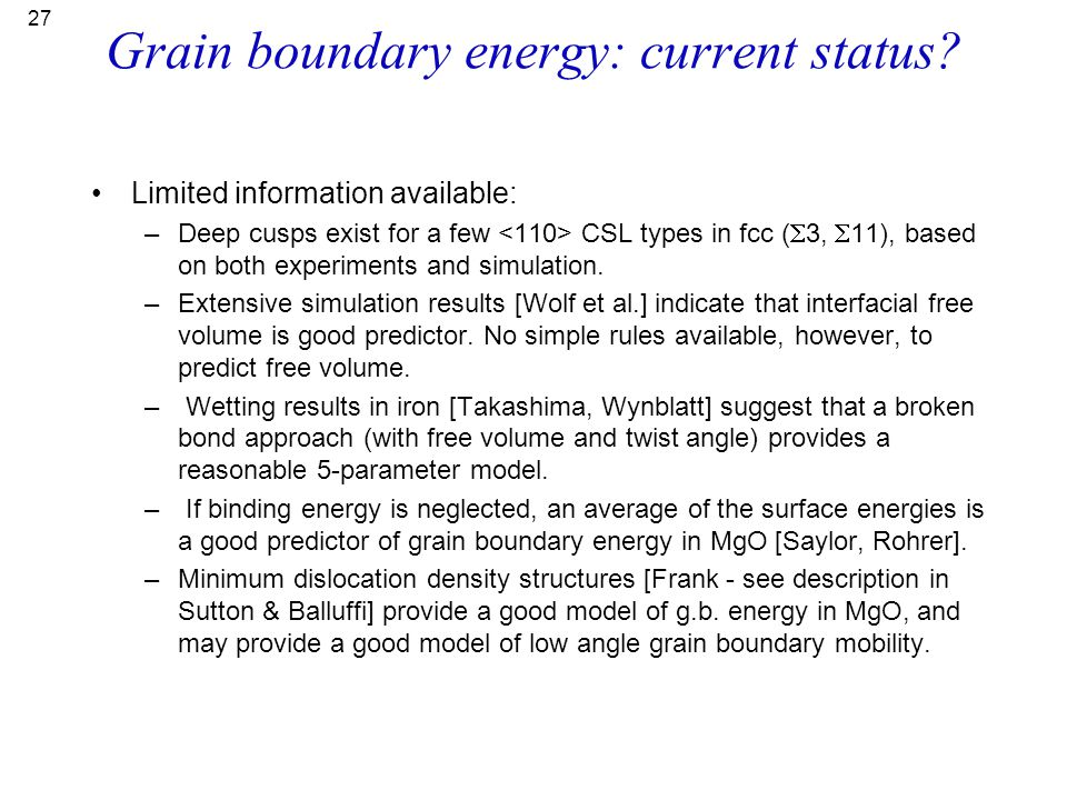 Grain boundary energy: current status