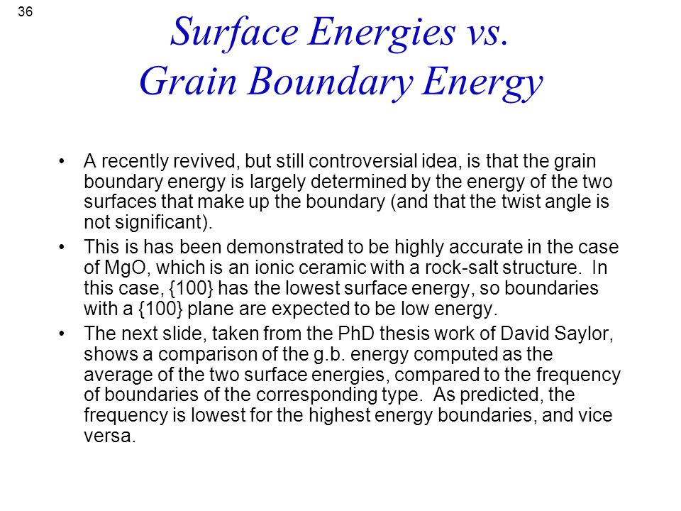 Surface Energies vs. Grain Boundary Energy