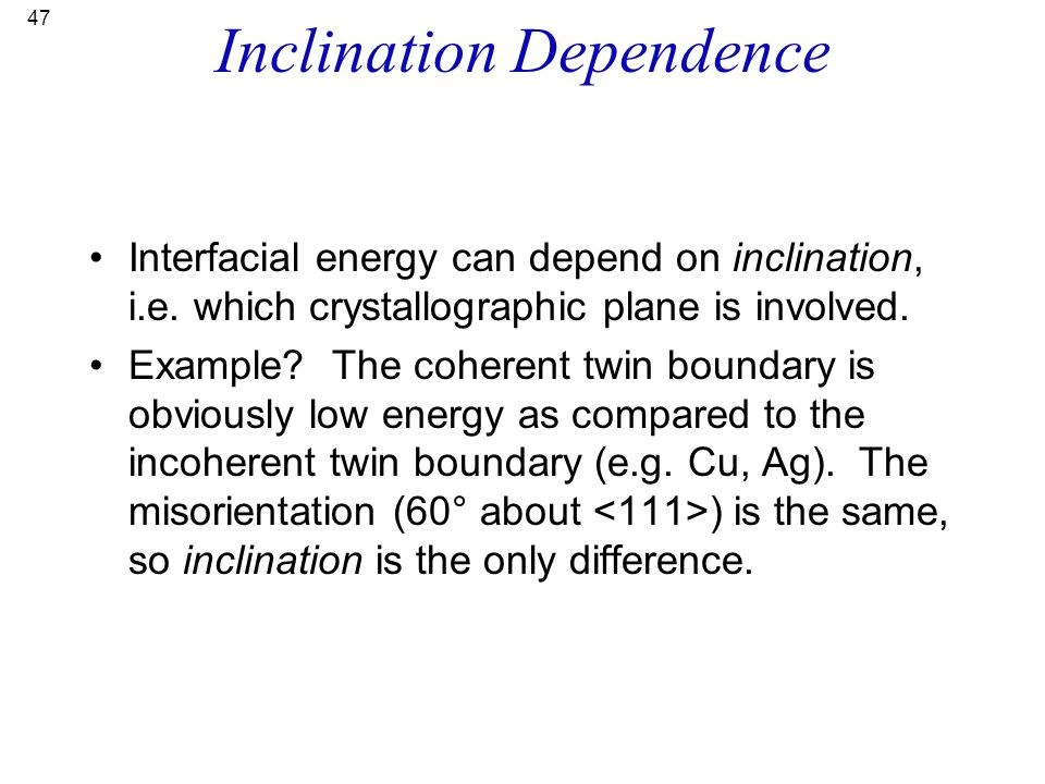 Inclination Dependence