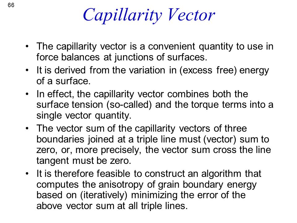 Capillarity Vector The capillarity vector is a convenient quantity to use in force balances at junctions of surfaces.