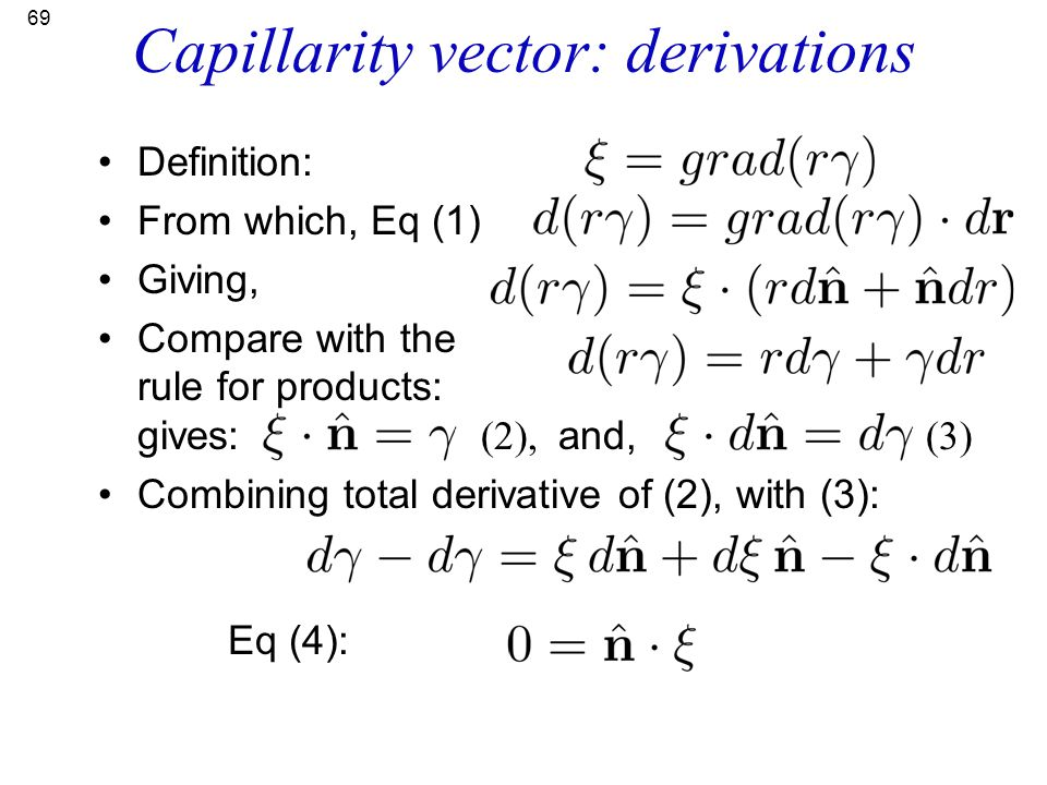 Capillarity vector: derivations