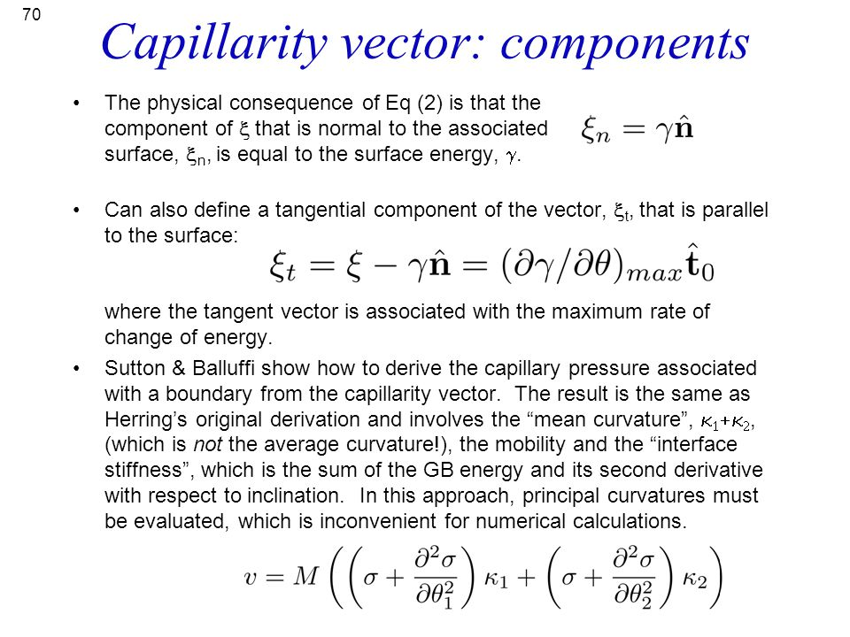 Capillarity vector: components
