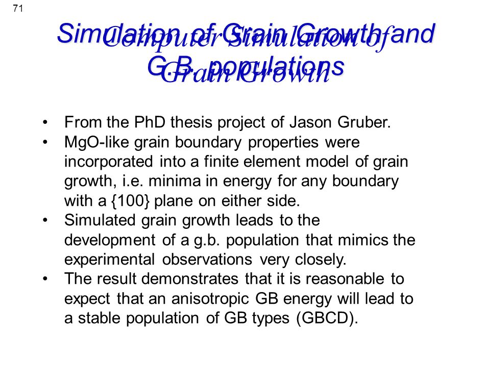 Computer Simulation of Grain Growth