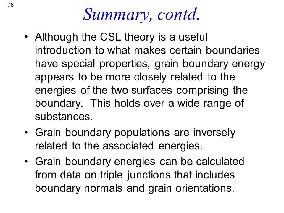 Summary, contd.