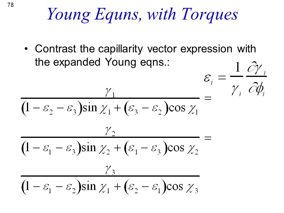 Young Equns, with Torques