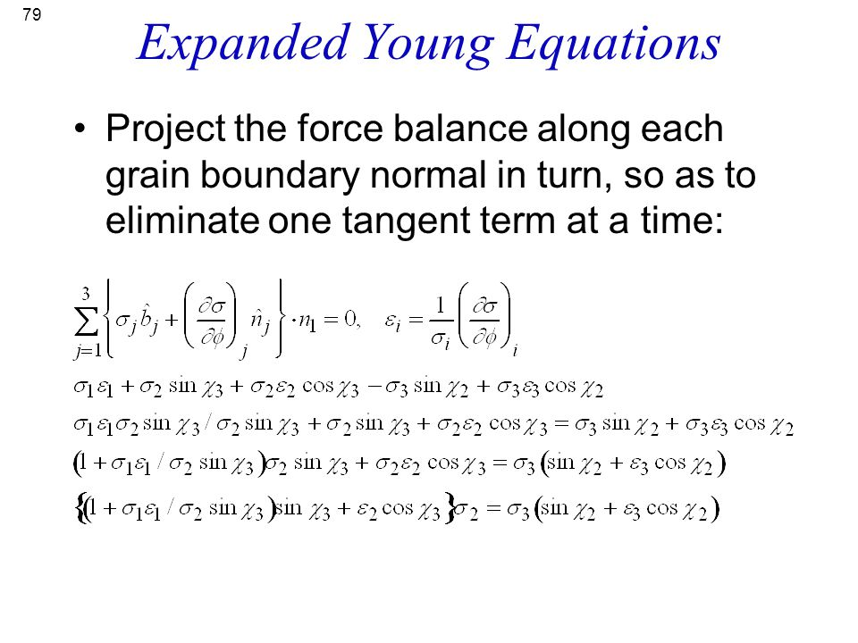 Expanded Young Equations