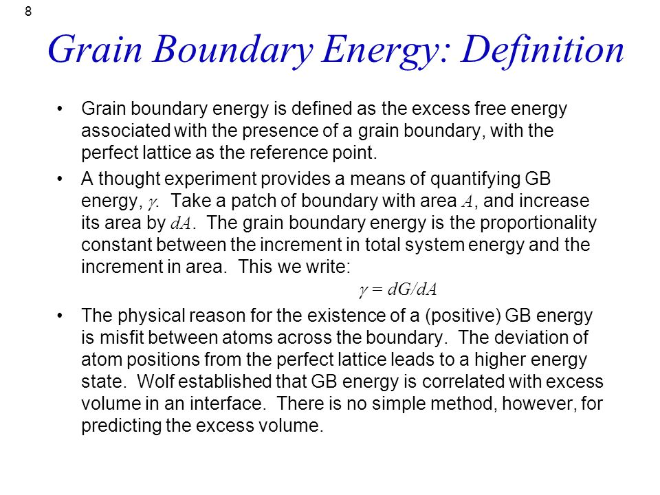 Grain Boundary Energy: Definition
