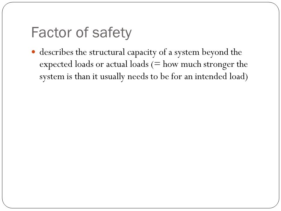 Factor of safety