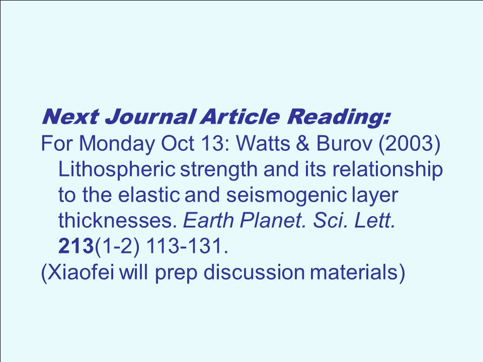Next Journal Article Reading: