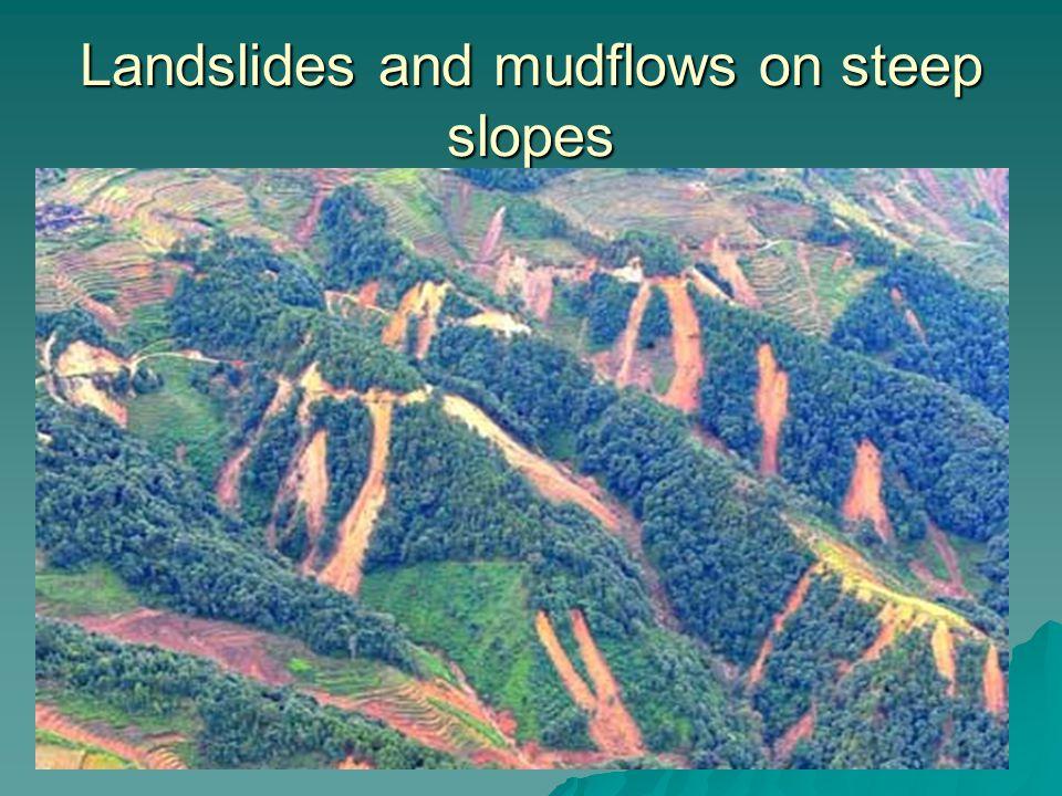 Landslides and mudflows on steep slopes