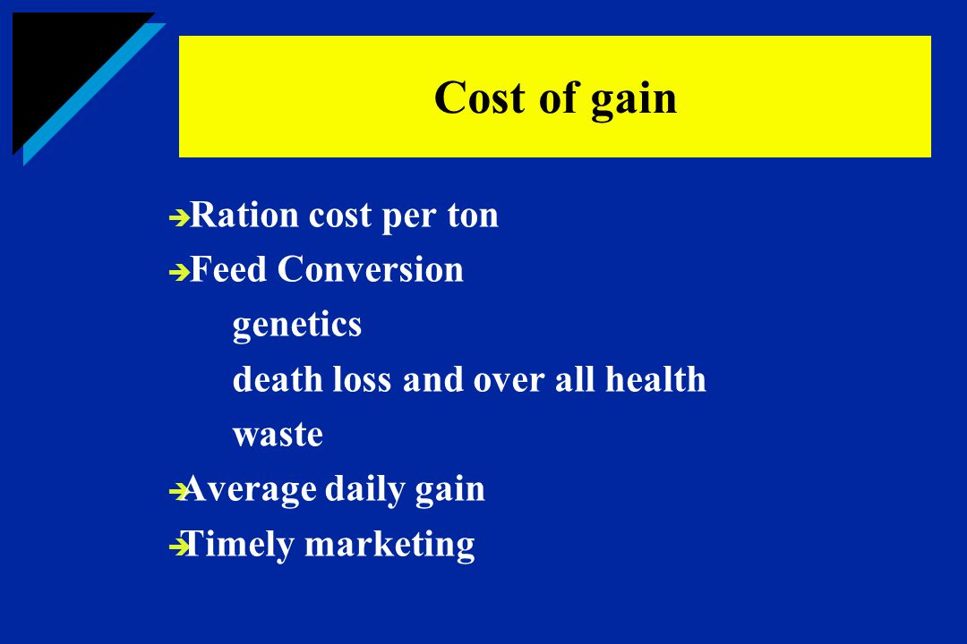 Cost of gain Ration cost per ton Feed Conversion genetics